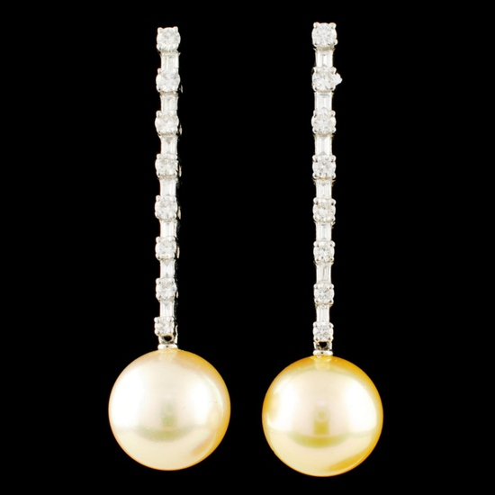 18K Gold 11.00MM Pearl & 0.76ctw Diamond Earrings