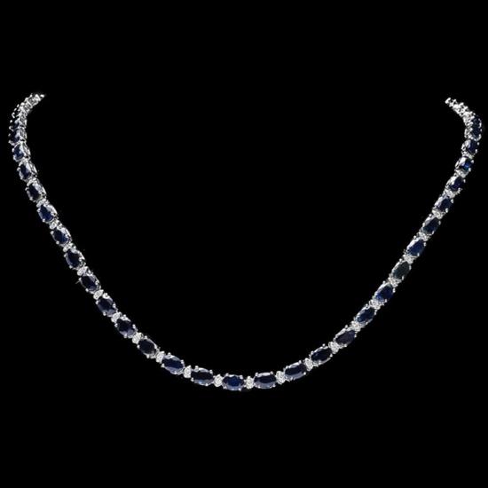 14k Gold 25.00ct Sapphire & 1.00ct Diamond Neckla