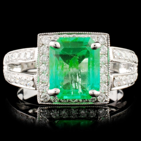 18K Gold 2.17ct Emerald & 0.57ctw Diamond Ring