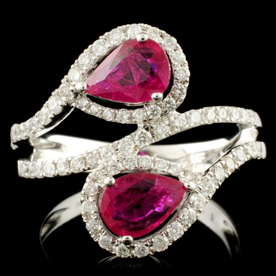 14K Gold 1.24ct Ruby & 0.60ctw Diamond Ring