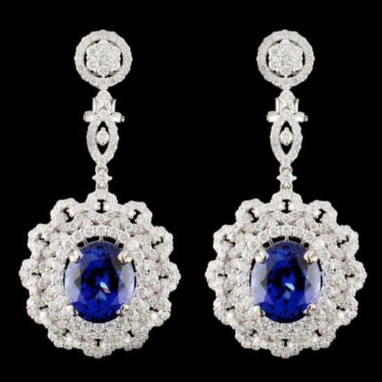 18K Gold 15.63ctw Tanzanite & 5.43ctw Diamond Earr