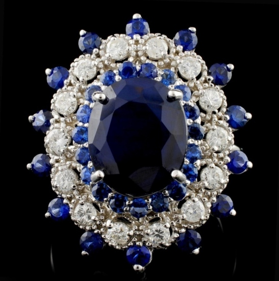 14K White Gold 7.50ct Sapphire & 1ct Diamond Ring
