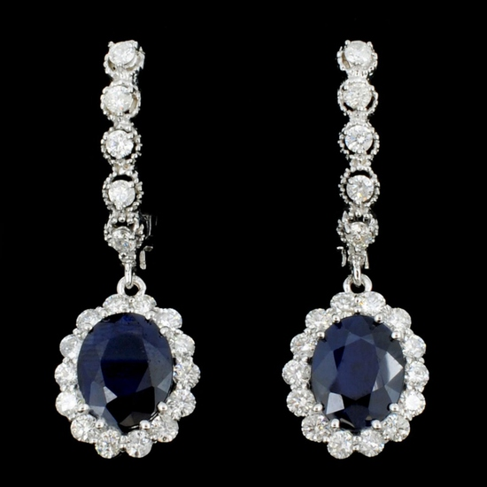 14K Gold 4.00ct Sapphire & 1.30ctw Diamond Earring