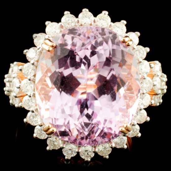 14K Rose Gold 17.00ct Kunzite & 1.32ctw Diamond Ri