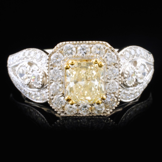 18K White Gold 1.52ctW Fancy Yellow Diamond Ring