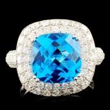 14K Gold 5.46ct Topaz & 1.82ctw Diamond Ring