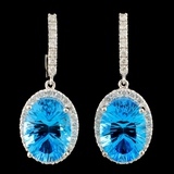 14K Gold 14.00ct Topaz & 1.10ctw Diamond Earrings