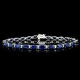 14K Gold 14.00ct Sapphire & 0.85ctw Diamond Bracel