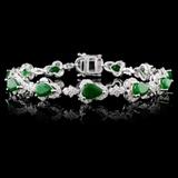 14K White Gold 7.68ct Emerald & 2.51ctw Diamond Br