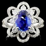 18K Gold 2.00ct Sapphire & 0.98ctw Diamond Ring