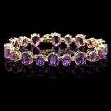 14k Gold 40.00ct Amethyst & 1.00ct Diamond Bracel