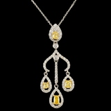18K Gold 0.90ctw Fancy Diamond Pendant