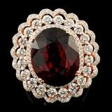 14K Gold 13.57ct Garnet & 2.19ctw Diamond Ring