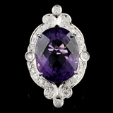 14K Gold 18.28ct Amethyst & 1.00ctw Diamond Ring