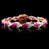 14K Rose Gold 10.67ct Ruby & 1.58ctw Diamond Brace