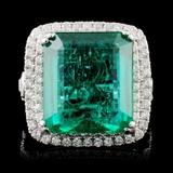 18K W Gold 9.87ct Emerald & 1.33ct Diamond Ring