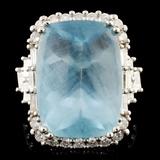 18K Gold 13.25ct Aquamarine & 1.51ctw Diamond Ring