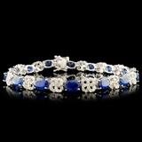 14K Gold 14.05ct Sapphire & 1.74ctw Diamond Bracel