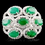 14K Gold 3.20ct Emerald & 1.06ctw Diamond Ring