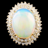 14K Gold 7.54ct Opal & 1.80ctw Diamond Ring