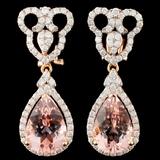 14K Gold 6.86ct Morganite & 1.30ctw Diamond Earrin