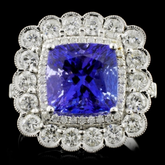 18K White Gold 4.14ct Tanzanite & 1.41ct Diamond R