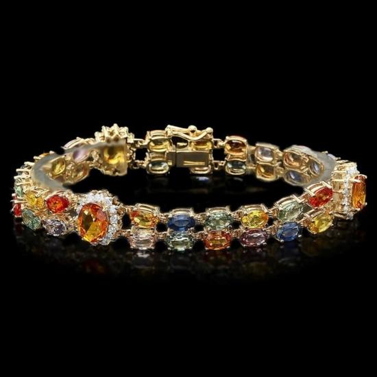 14k Gold 27.00ct Sapphire & 1.40ct Diamond Bracel