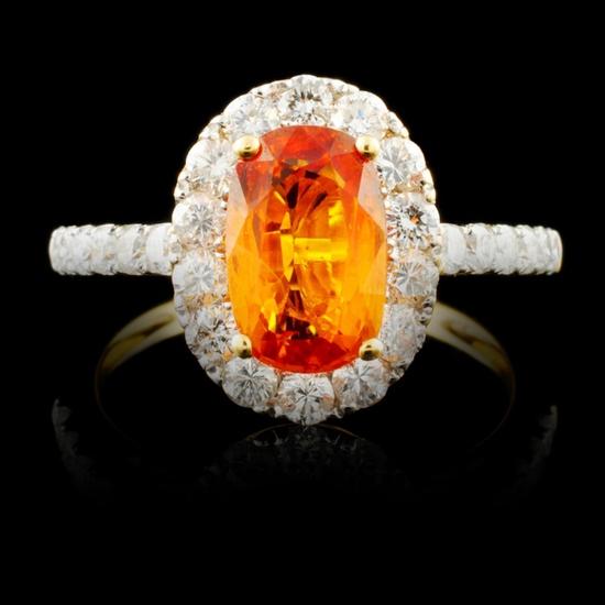 18K Gold 1.90ct Sapphire & 0.85ctw Diamond Ring
