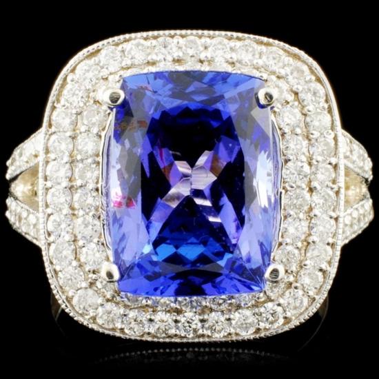 18K Gold 5.48ct Tanzanite & 1.09ctw Diamond Ring