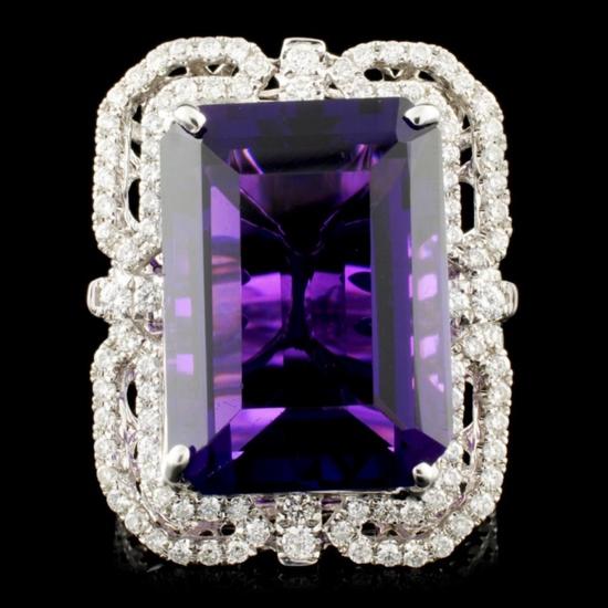 18K Gold 15.40ct Amethyst & 1.10ctw Diamond Ring