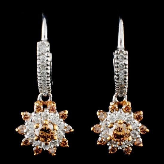 14K Gold 0.92ctw Diamond Earrings