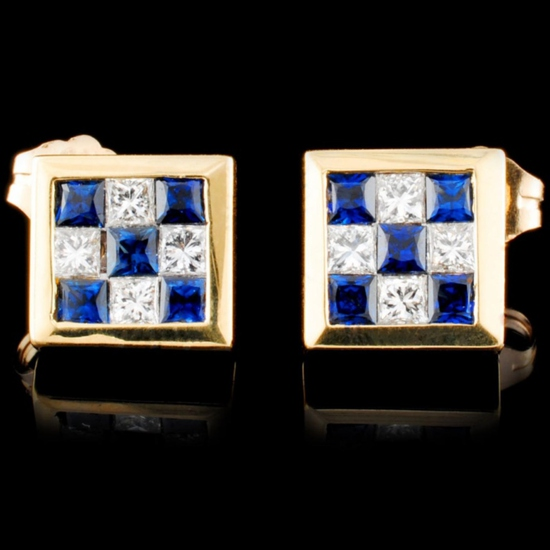 18K Gold 0.63ctw Sapphire & 0.40ctw Diamond Earrin