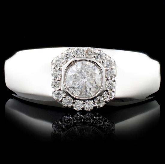 14K White Gold 0.86ctw Diamond Ring