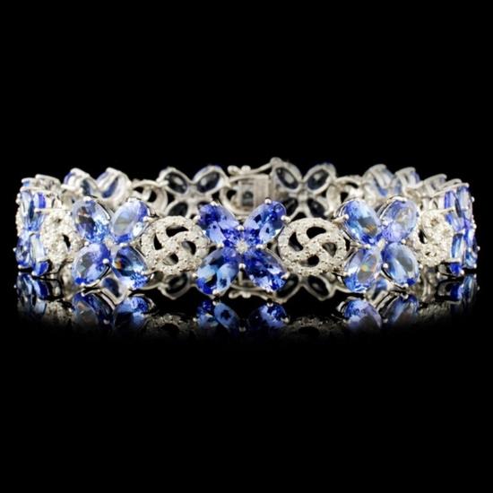 14K Gold 21.42ct Tanzanite & 1.65ctw Diamond Brace