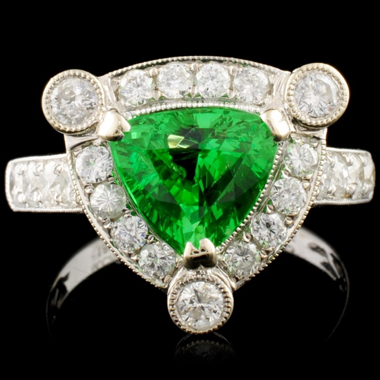 18K Gold 1.93ct Tsavorite & 0.95ctw Diamond Ring