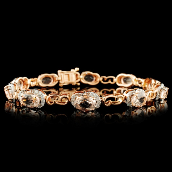 14K Gold 6.95ct Morganite & 0.75ctw Diamond Bracel