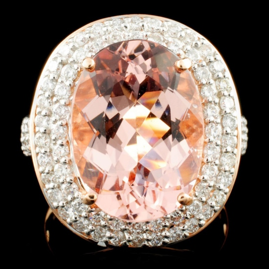 14K Gold 7.66ct Morganite & 1.11ctw Diamond Ring