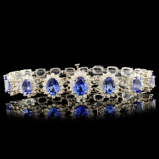 14K Gold 29.40ct Tanzanite & 2.60ctw Diamond Brace