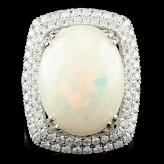 14K Gold 8.45ct Opal & 1.37ctw Diamond Ring