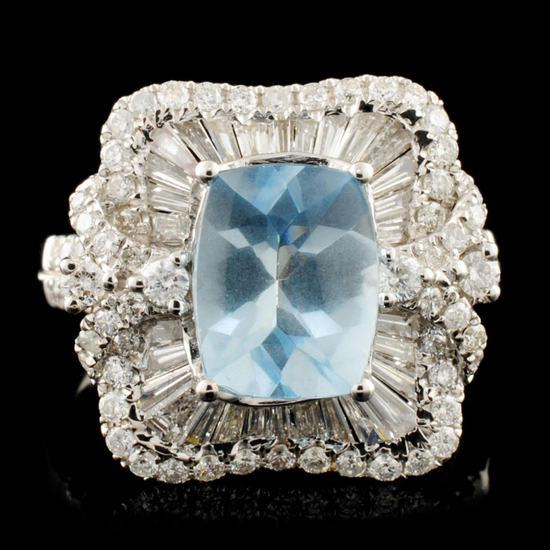 18K Gold 1.94ct Aquamarine & 1.20ctw Diamond Ring
