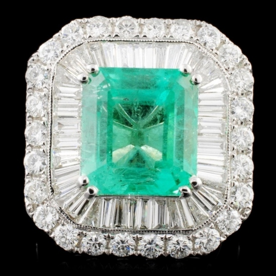 18K Gold 7.27ct Emerald & 3.62ctw Diamond Ring