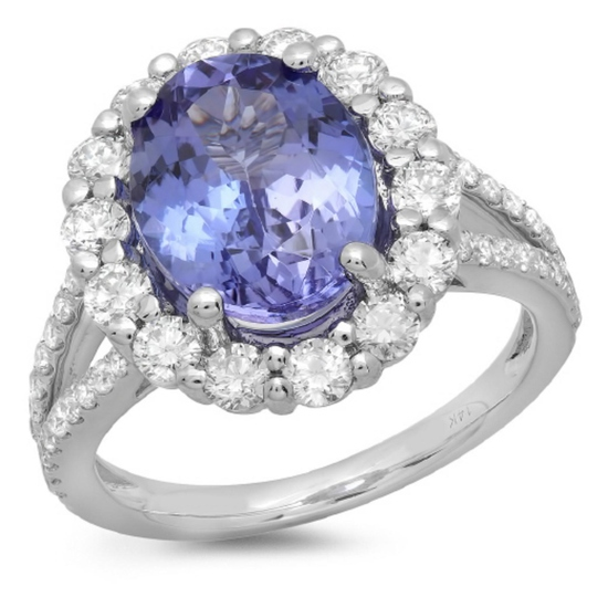 14K Gold 4.00ct Tanzanite & 1.20ct Diamond Ring