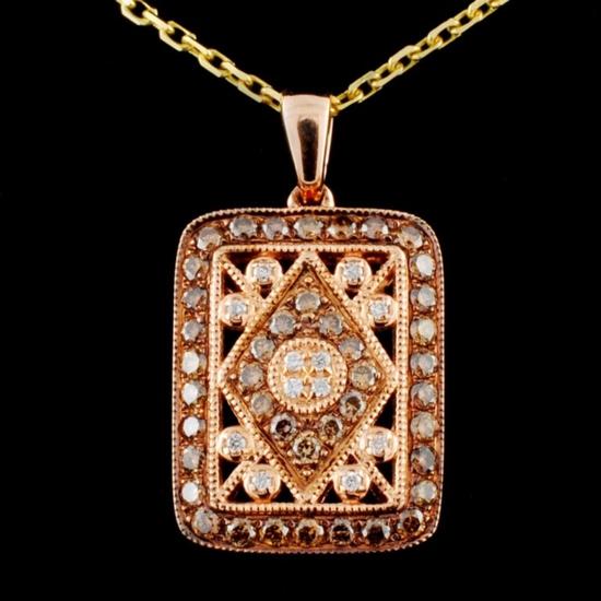 14K Gold 0.38ctw Fancy Diamond Pendant