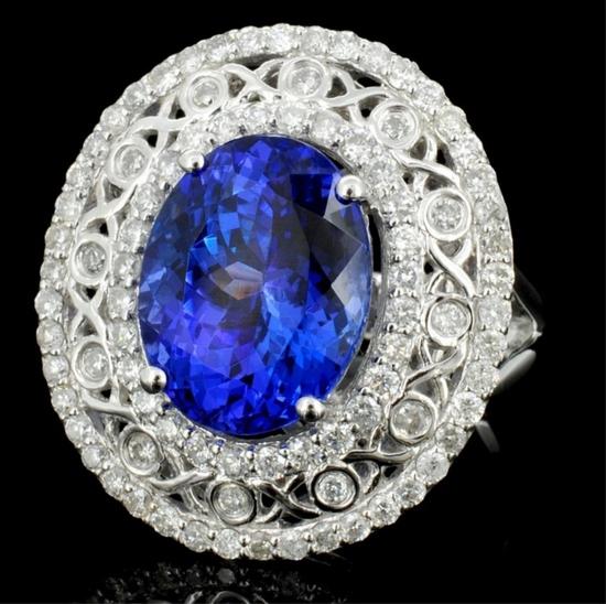18K Gold 5.79ct Tanzanite & 0.95ct Diamond Ring
