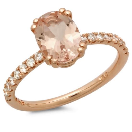 14K Gold 1.00ct Morganite & 0.20ct Diamond Ring