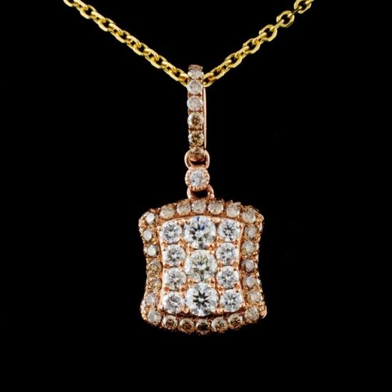 14K Rose Gold 1.08ctw Diamond Pendant