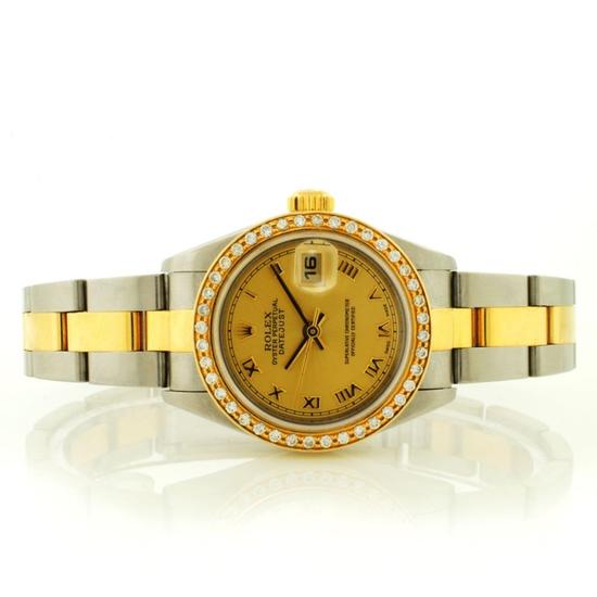 Rolex DateJust 18K/SS Diamond Roman Ladies