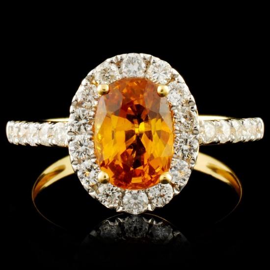 18K Gold 1.63ct Sapphire & 0.74ctw Diamond Ring