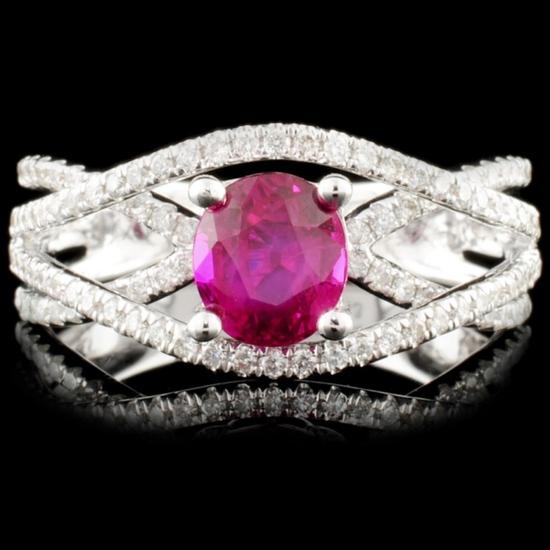 18K Gold 1.04ct Ruby & 0.43ctw Diamond Ring