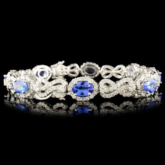18K Gold 5.52ct Tanzanite & 4.38ctw Diamond Bracel